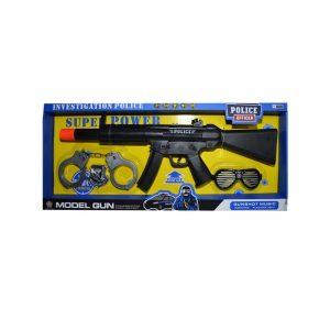 Pistol mitraliera cu baterii + accesorii politie