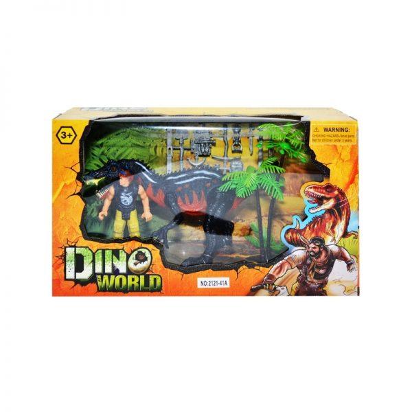 Play set - dinozaur + luptator + accesorii