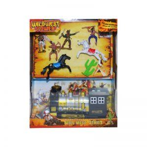 Play set - indieni + cowboy + locomotiva + accesorii
