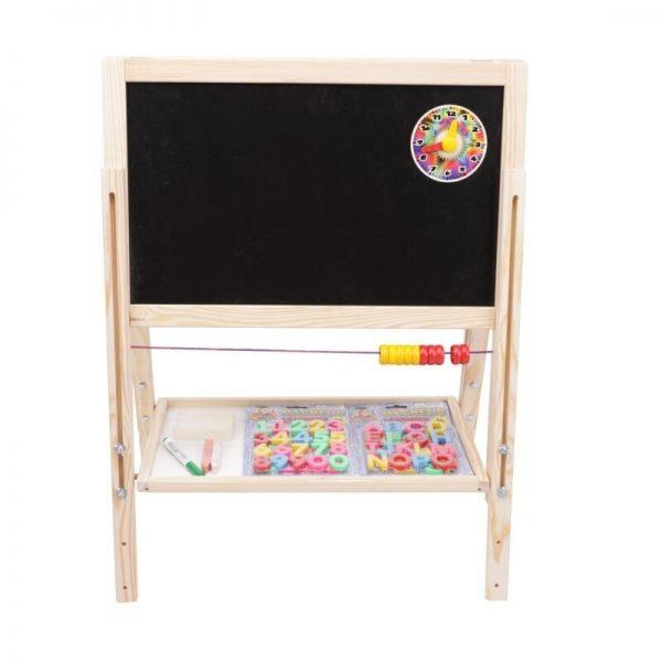 Tablita lemn magnetica/ ajustabila/ 2 fete/ 108 cm + suport + accesorii - Tupiko