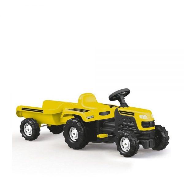 Tractor cu pedale si remorca/galben/52x144x45cm - Dolu