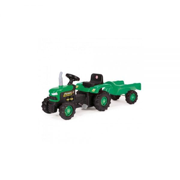 Tractor cu pedale si remorca/verde/53x143x45 - Dolu