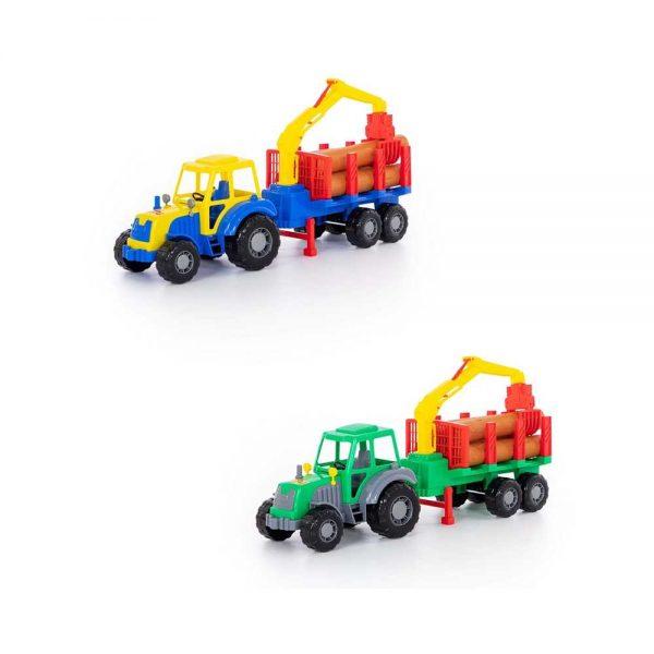 Tractor cu remorca + lemne - Altay