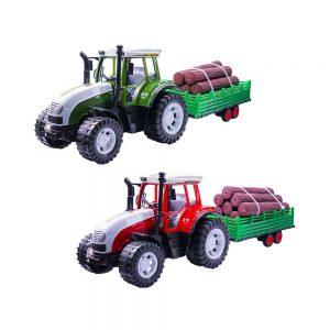 Tractor cu remorca si lemne
